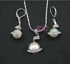 18k white Gold GP Austrian Crystal pearl pendant necklace earrings hook sets S3