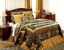7 Pc Oversized Country Quilt Set 8 Point Star Gold Brown - Amherst Collection