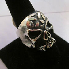 Insignia Ruthless Skull 316L Top Quality Stainless Steel Silver Black Ring 7-12