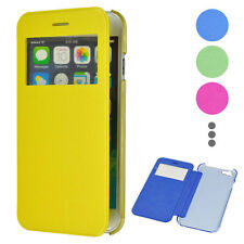 """Brushed Transparent PC&Leather Case with Caller ID Window for iPhone 6 4.7"""" 5.5"""""""