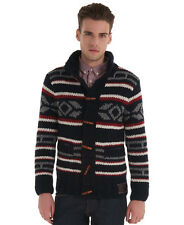 New Mens Superdry Trapper Knitted Cardigan Navy