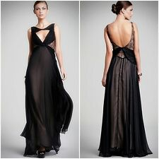 ABS Allen Schwartz $490 Black/Nude Silk Chiffon Twisted Lace Paneled Gown NEW