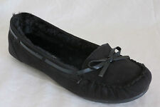 WOMEN SUEDE BLACK MOCCASIN SLIP ON SOFT FUR LINED FLATS WELLS FREE SHIPPING