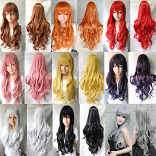 Beauty Fashion Womens Lady Long Curly Wavy Hair Full Wigs Cosplay Party 80cm