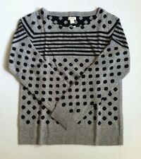 NWT J.Crew Warmspun Intarsia Stripe Dot Sweater Size M L Gray Black Orig $88