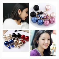Fashion Runway Double Pearl Beads Plug Bubble Gold Plated Earrings Ear Studs Pin
