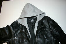 Point Zero Black zip up faux leather hooded coat biker mock layer moto lined