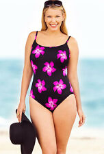 LONGITUDE 8 Pink Sashay Scoop Neck Tank Swimsuit *NWT $89