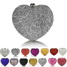 Diamante Heart Shape Ladies Clutch Bags Designer Women Bridal Evening Chain Prom
