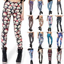 Sexy Women Halloween Graphic Print Skinny Legging Tight Pants Pantyhose Jumpsuit