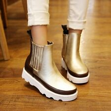 Real Leather Elastic Gold/Silver Womens Punk Platform Creepers Ankle Boots Shoes