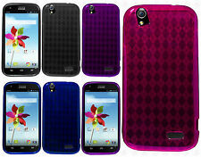 For ZTE Grand X Z777 TPU CANDY Gel Flexi Skin Case Phone Cover Plaid Accessory