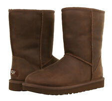 UGG AUSTRALIA CLASSIC SHORT LEATHER BROWN STONE COLOR  BOOTS