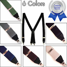 Men's Elastic Clip Suspenders Braces Adjustable X-Back Dress Tuxedo Work Belts