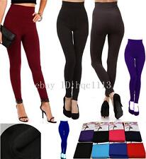 Women FLEECE LINED THICK Warm Solid Winter High Waisted Tummy Control Leggings
