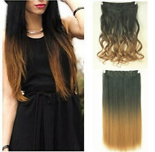 "20"" 3/4 Full Head Synthetic Straight Curly Wavy Clip in on Ombre Hair Extensions"