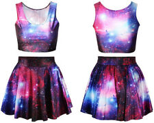 2014 NEW  women skirt top cropped clothing sport suit women Galaxy Space printed