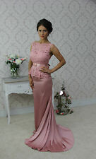 Long Lace Ball Gown Fishtail Party Bridesmaid Evening Dress Size  6 8 10 12 14