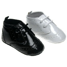 Baby Boys Smart Christening Party shiny PU Patent Black/White shoes with laces