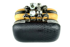 Snakeskin Skull Knuckle Ring Minaudiere Evening Party Ball Clutch Purse Handbag