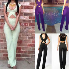 Sexy Womens Black Green Pueple Evening Party Lower-cut Tops & Pants Jumpsuits
