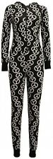 NEW WOMENS FITTED PEACE PRINT HOODY ONESIE JUMPSUIT ALL IN ONE PIECE SIZE 8-14