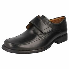 Mens Clarks Black Leather Riptape Strap Formal Shoes G Fitting Style HARP ROLL