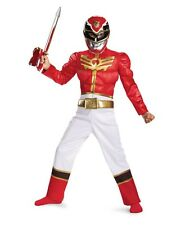 Boys Muscle RED Power Rangers Costume Deluxe Padded Jumpsuit Kids Child M L NEW