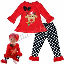 Christmas Reindeer Outfit 2pcs Baby Toddler Girl Top Shirt & Pants Leggings Set