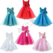 CHRISTMAS 3D ROSE FLOWER GIRL BABY PRINCESS DRESS WEDDING PARTY PAGEANT DRESSES