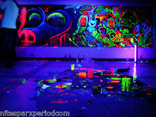 UV GLOW IN THE DARK PAINT FOR glow under party rave set of 8 1 oz bot