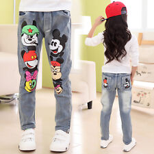 Fashion Kids Girl's Cute Cartoon Mickey Slim Jeans Pants Trousers For 2-10Y