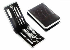 Mens Gent Manicure Grooming Set In Leather Wallet Travel Nail Kit XMAS Gift Idea