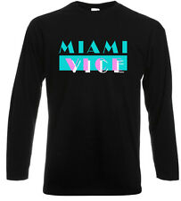 MIAMI VICE TV series Retro Logo Don Johnson Long Sleeve Black T-Shirt Sz S-3XL