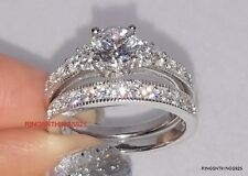 Silver 925  Engagement Wedding Set CZ Ring Sizes 4 5 6 7 8 9 10 11 Women's
