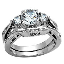Round Cut AAA CZ Stainless Steel Wedding Ring Set Cubic Zirconia Sz 5-10