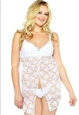 Stretch lace babydoll set with demi cups 1x 2x 3x  Lingerie4Curves Plus Size