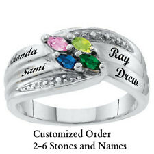 Mom's Personalized Marquise Birthstone Ring 10K White Gold PlatedCustomized Gift