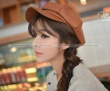 Fashion Women Winter Warm Faux Leather Captain Caps Painter Hats Berets
