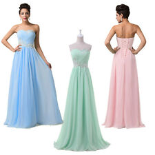 XMAS Beaded Chic Long Prom Evening Bridesmaid Gown Wedding Bridal Party Dresses