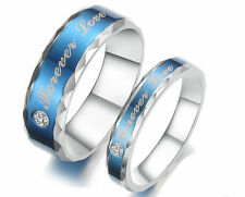 Fashion Stainless Steel Love of Blue Forever Promise Ring Love Couple Ring Gift