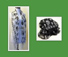 Alexander McQueen Silk Scarf / Black with White Skulls or White with Black skull