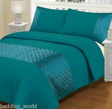 ELLIPSE TEAL DUVET COVER BEDDING SET FAUX SILK QUILTED GREEN BLUE TURQUOISE