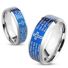 316L Stainless Steel Blue IP Lord's Prayer Men's or Women's Band Ring, Sz 5-13