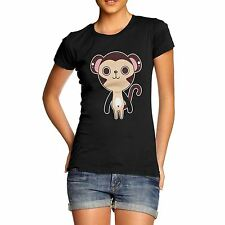 Women Cotton Novelty Funny Animal Theme Cute Monkey Print T-Shirt