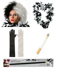 6 PC BOOK VILLAIN KIT WIG GLOVES FEATHER BOA FAKE CIGARETTE & HOLDER FANCY DRESS