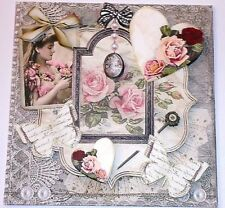 Handmade Greeting Card 3D All Occasion Vintage Style Collage Roses And Hearts