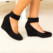 Feminine Flair Velvet Ankle Strap Covered Wedge Heel Pump Black