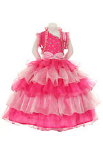New Girl Glitz Pageant Wedding Ruffled Dress Bolero Pink/Fuchsia 2 4 6 8 10 12