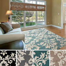Hand-tufted Alyshia Classic Damask New Zealand Wool Area Rug (2' x 3')